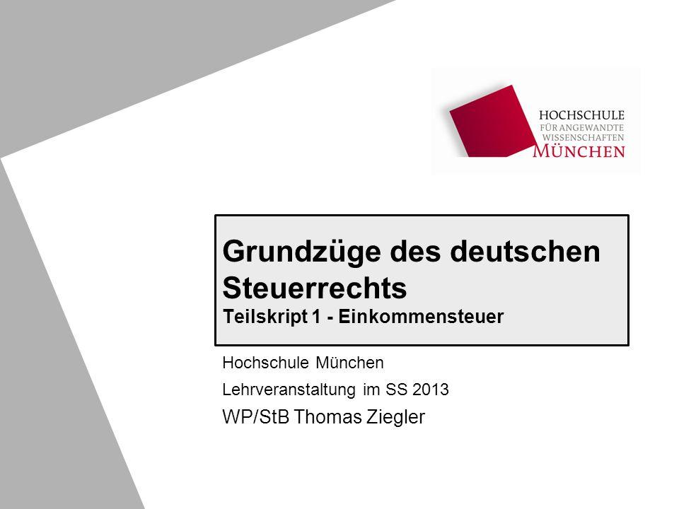 Grundzüge des deutschen Steuerrechts Teilskript 1 - Einkommensteuer