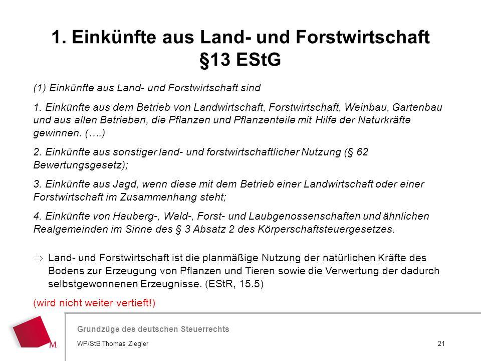 1. Einkünfte aus Land- und Forstwirtschaft §13 EStG