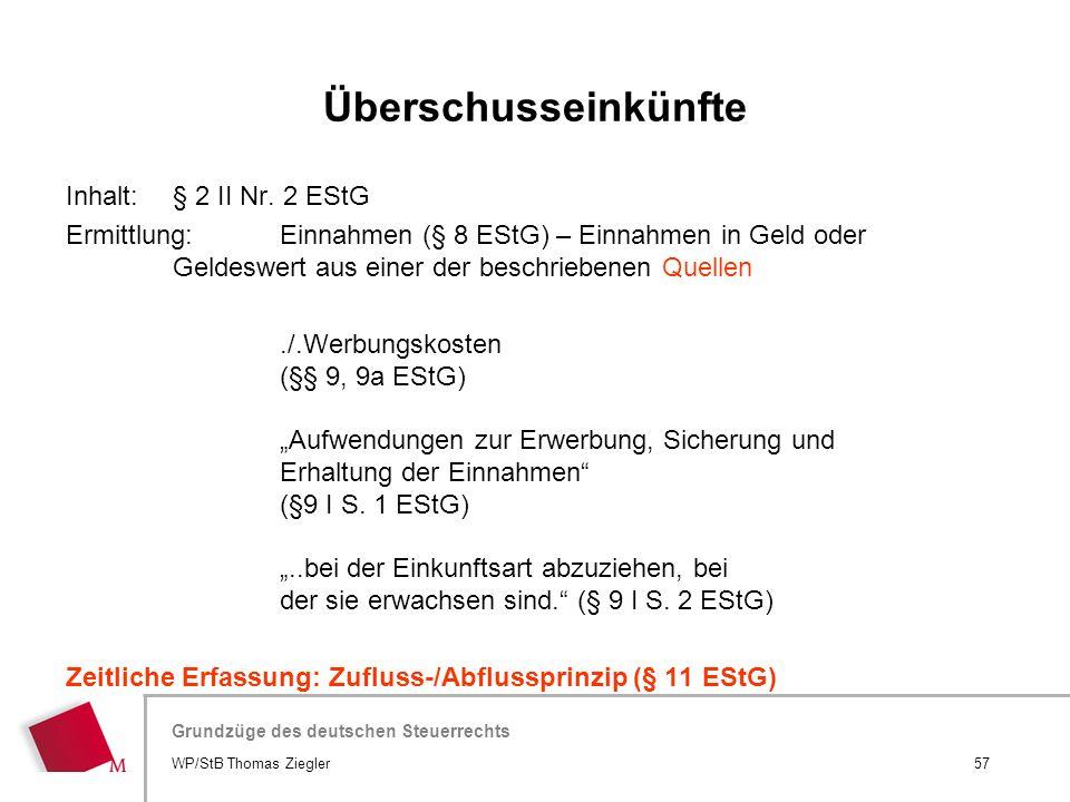 Überschusseinkünfte Inhalt: § 2 II Nr. 2 EStG