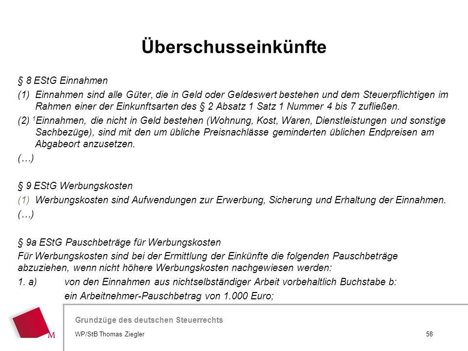 Überschusseinkünfte § 8 EStG Einnahmen
