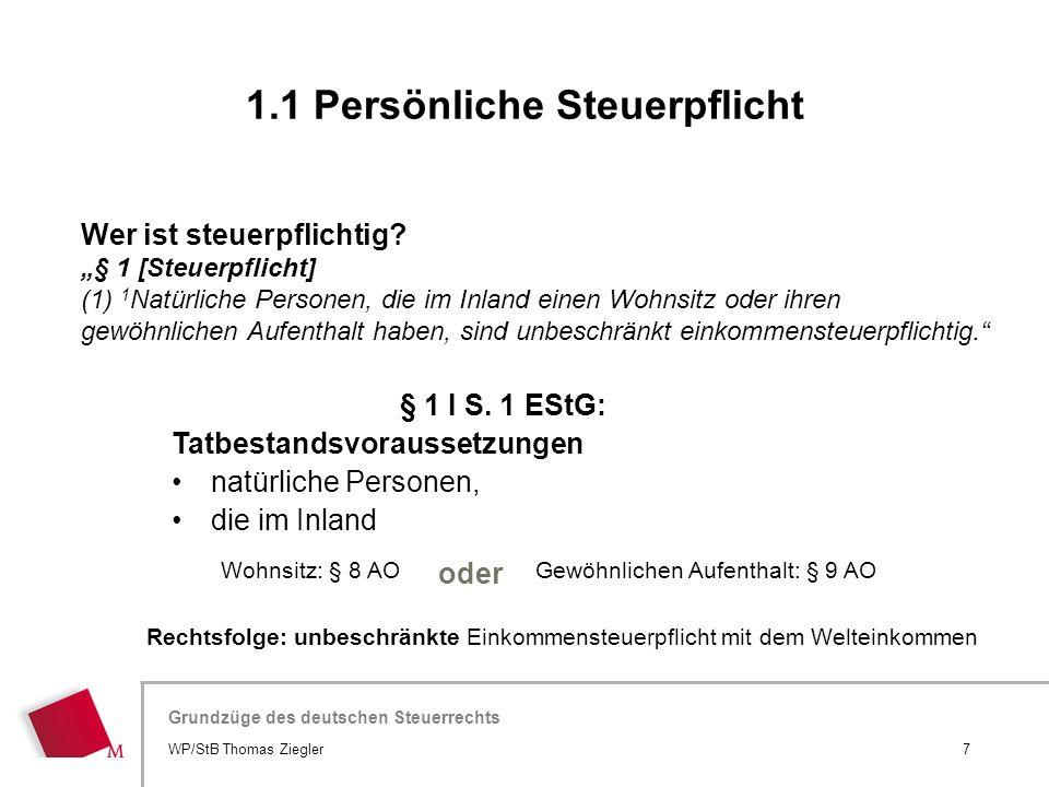 1.1 Persönliche Steuerpflicht