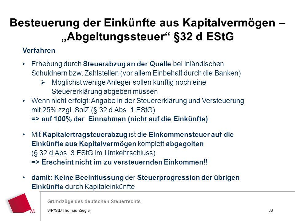 """Besteuerung der Einkünfte aus Kapitalvermögen – """"Abgeltungssteuer §32 d EStG"""