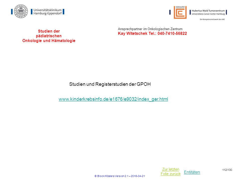 Studien der pädiatrischen Onkologie und Hämatologie