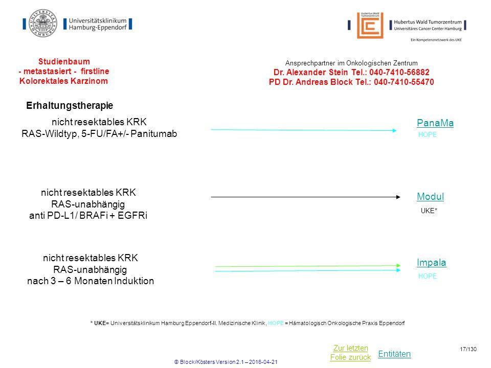 Studienbaum - metastasiert - firstline Kolorektales Karzinom