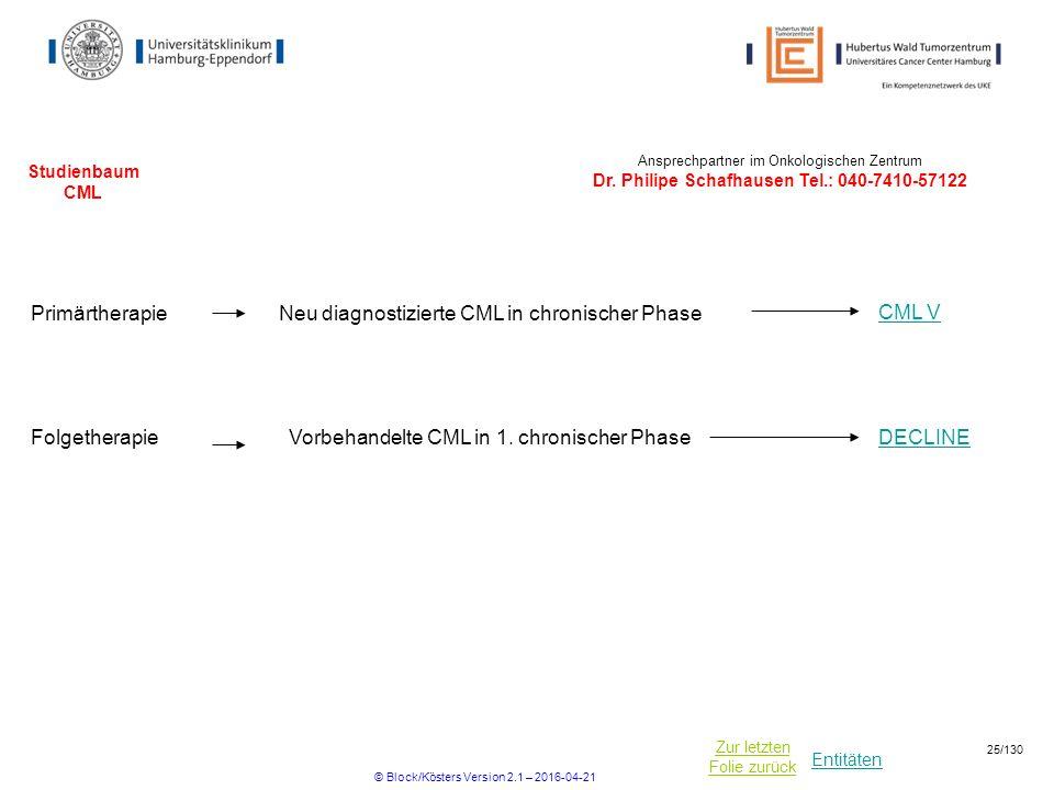 Neu diagnostizierte CML in chronischer Phase CML V