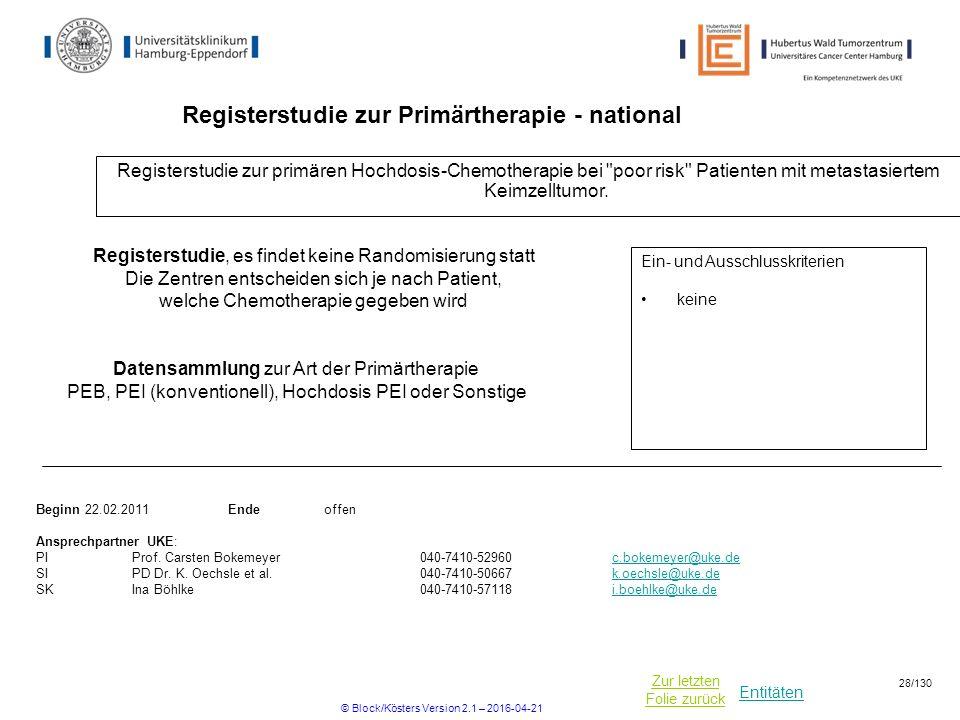 Registerstudie zur Primärtherapie - national