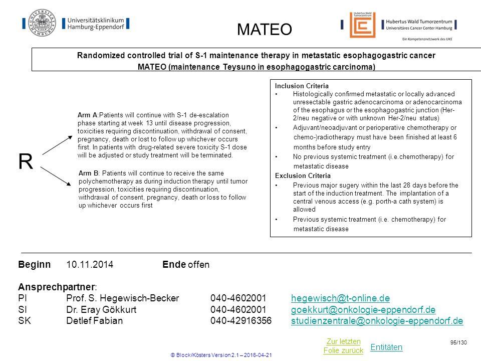 MATEO (maintenance Teysuno in esophagogastric carcinoma)