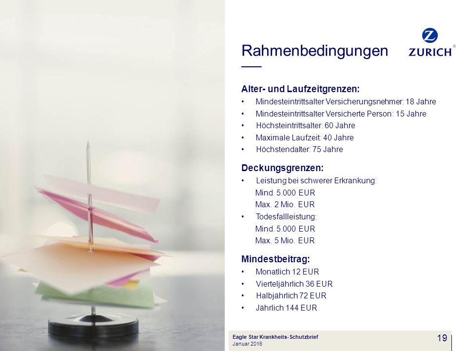 Rahmenbedingungen Alter- und Laufzeitgrenzen: Deckungsgrenzen:
