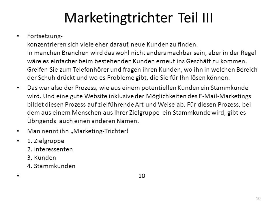 Marketingtrichter Teil III