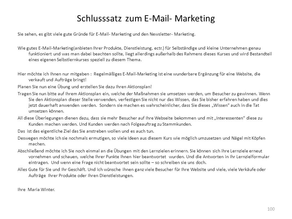 Schlusssatz zum  - Marketing
