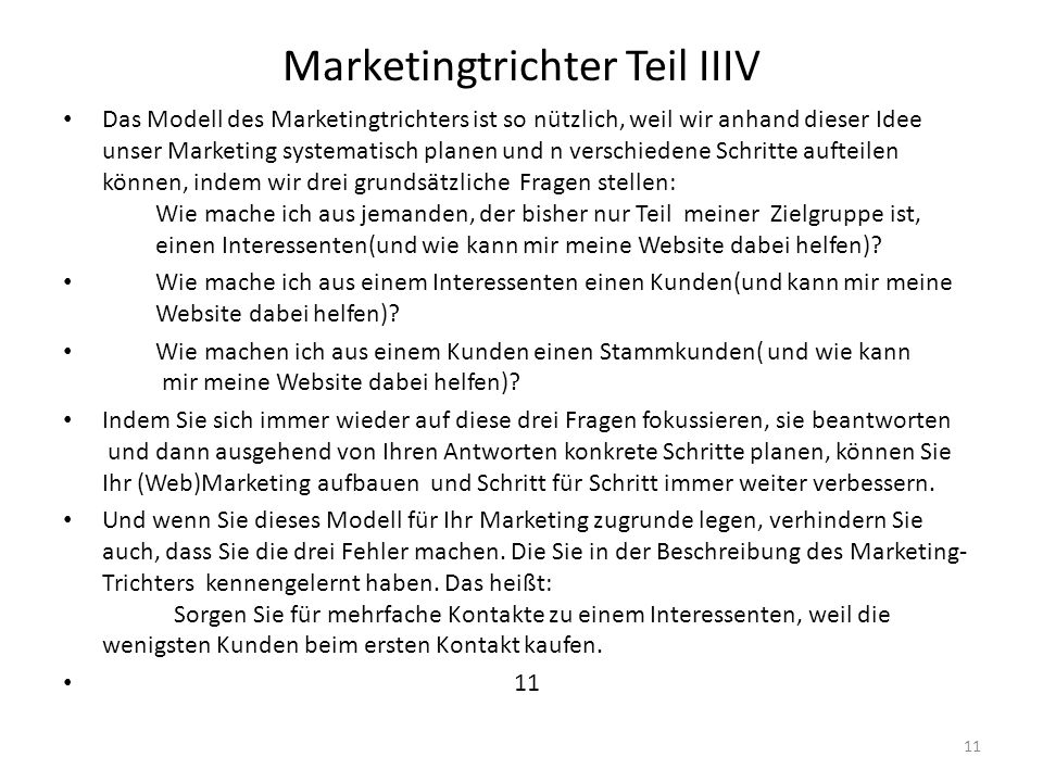 Marketingtrichter Teil IIIV