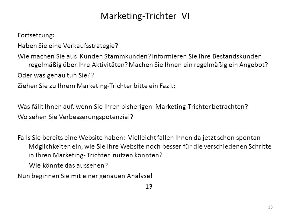 Marketing-Trichter VI