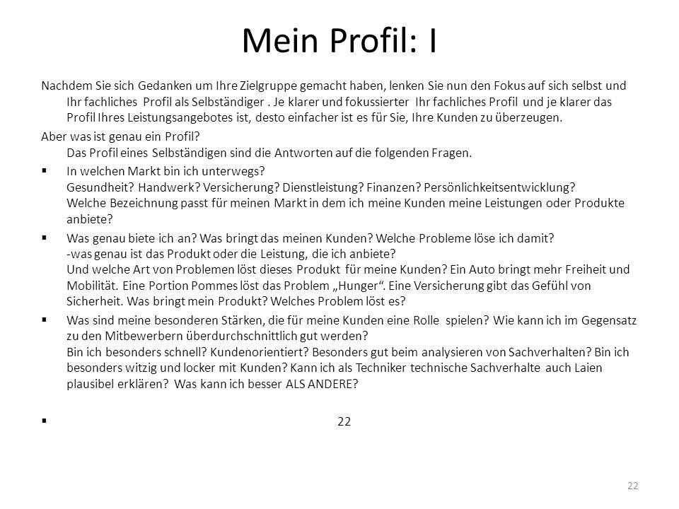 Mein Profil: I