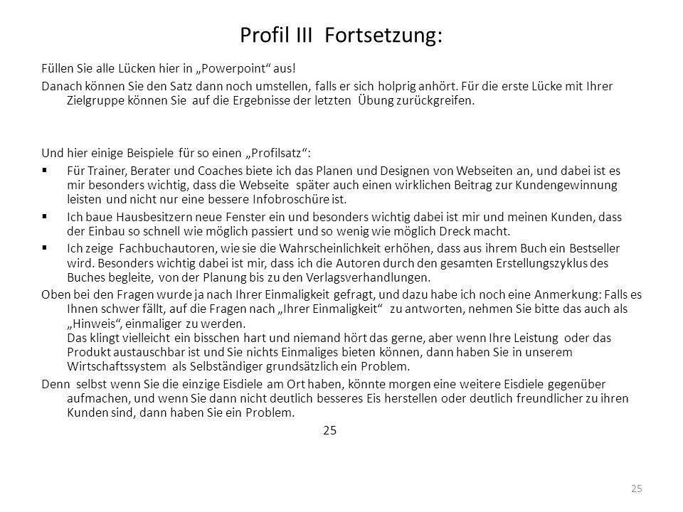 Profil III Fortsetzung: