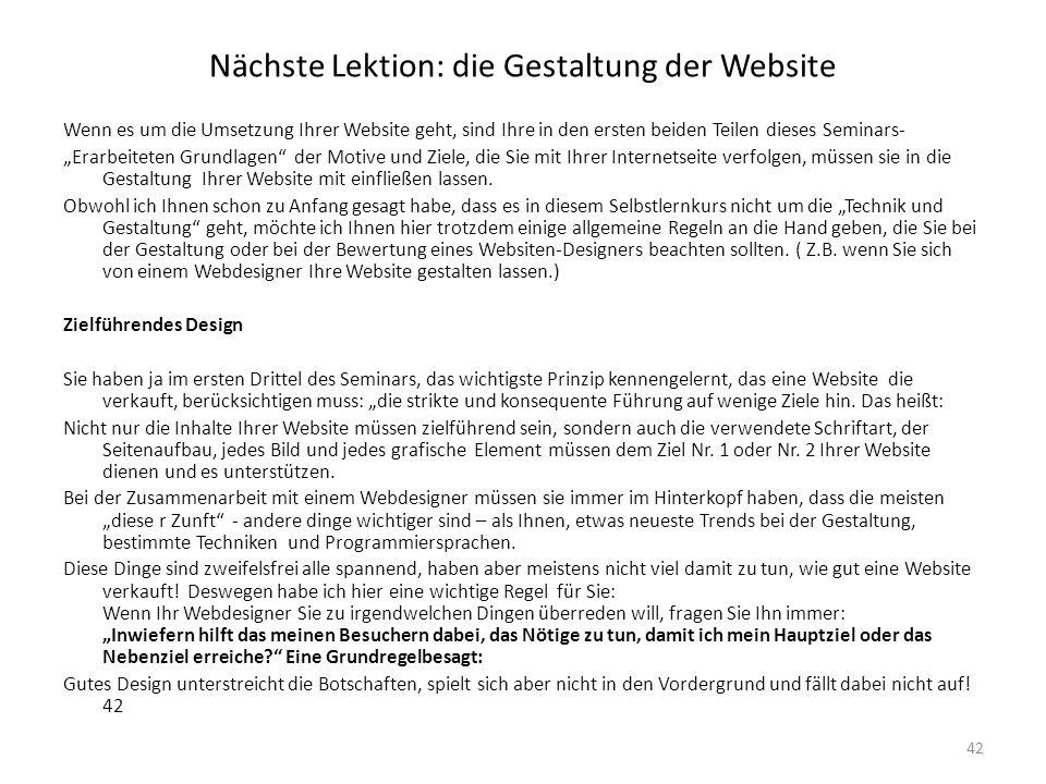 Nächste Lektion: die Gestaltung der Website