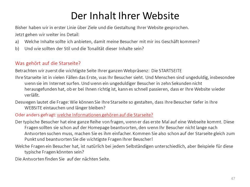 Der Inhalt Ihrer Website
