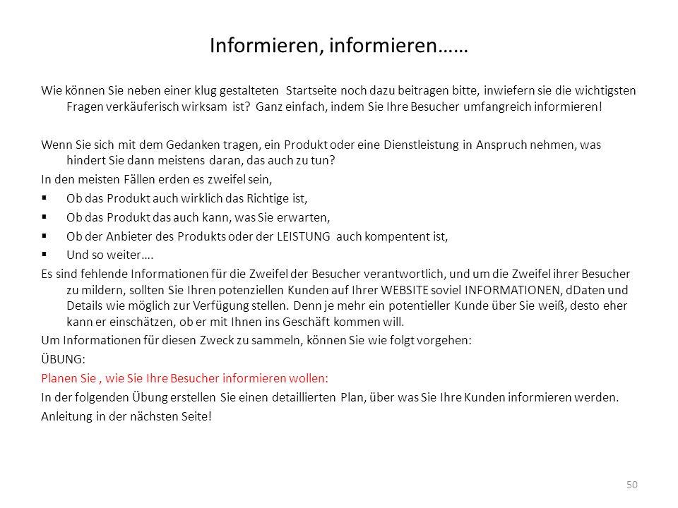 Informieren, informieren……