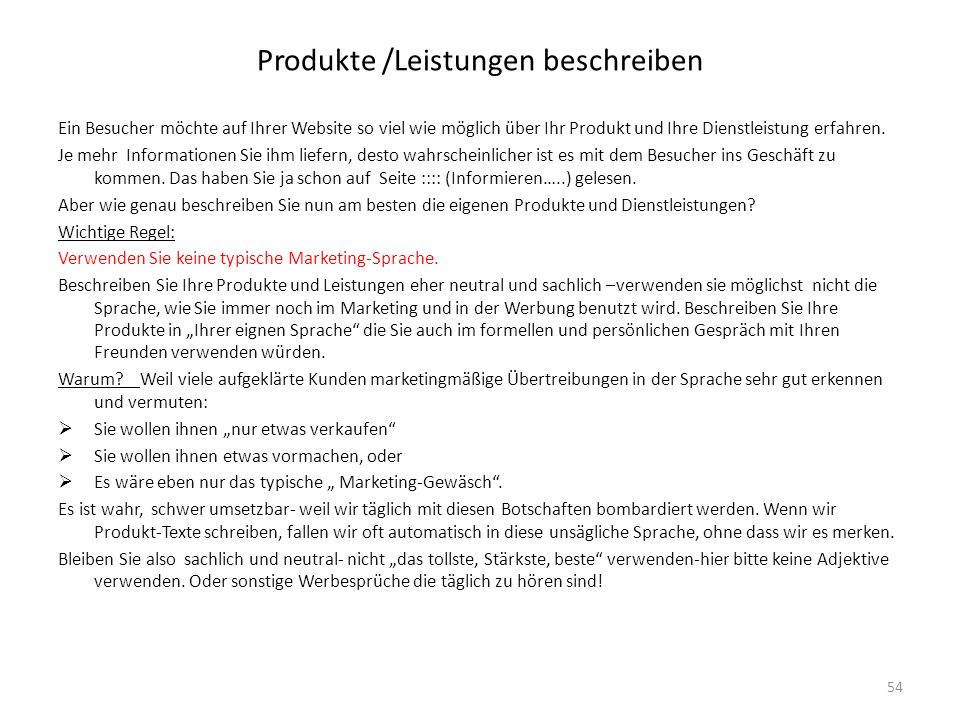 Produkte /Leistungen beschreiben