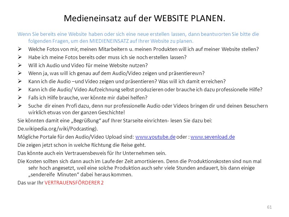 Medieneinsatz auf der WEBSITE PLANEN.