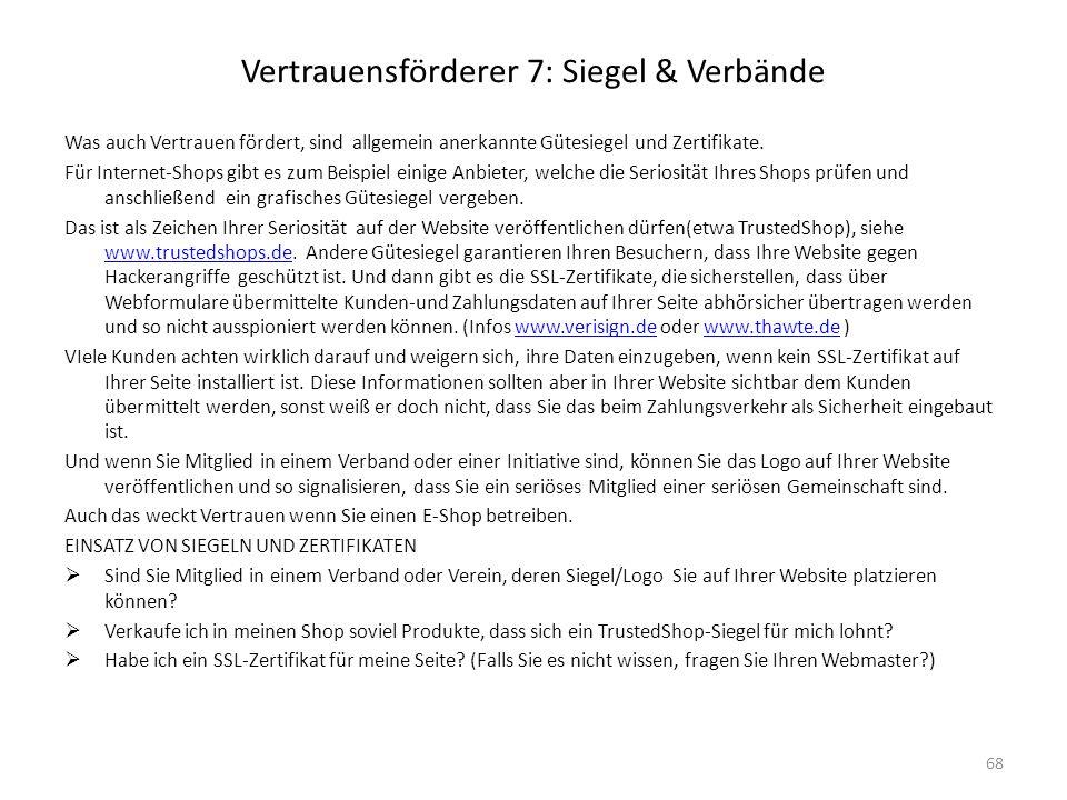 Vertrauensförderer 7: Siegel & Verbände