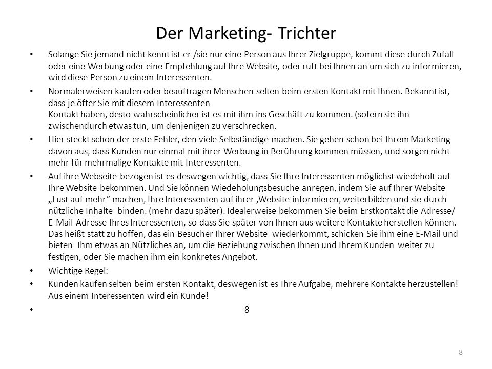 Der Marketing- Trichter