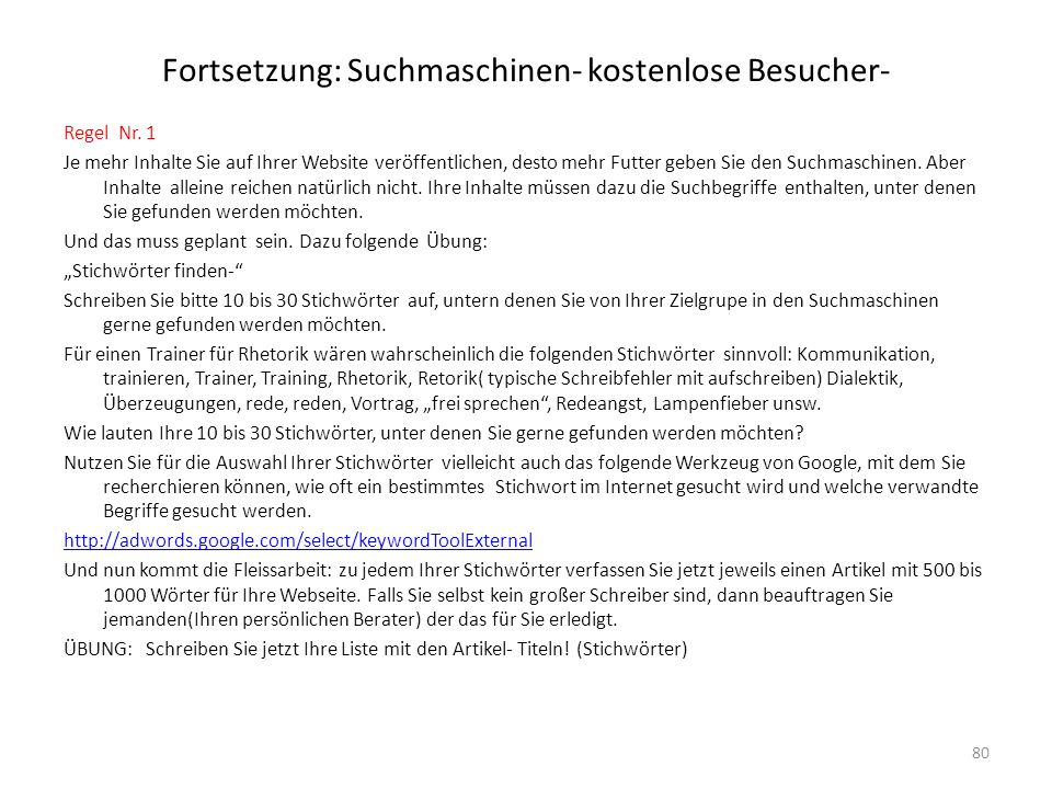Fortsetzung: Suchmaschinen- kostenlose Besucher-