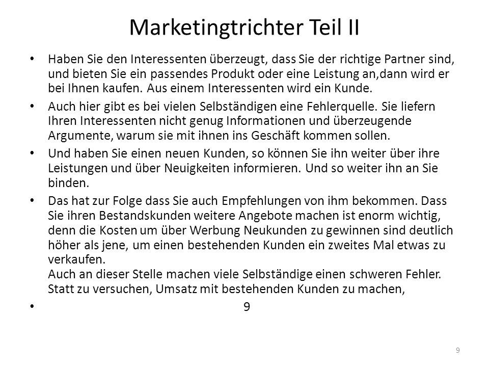 Marketingtrichter Teil II