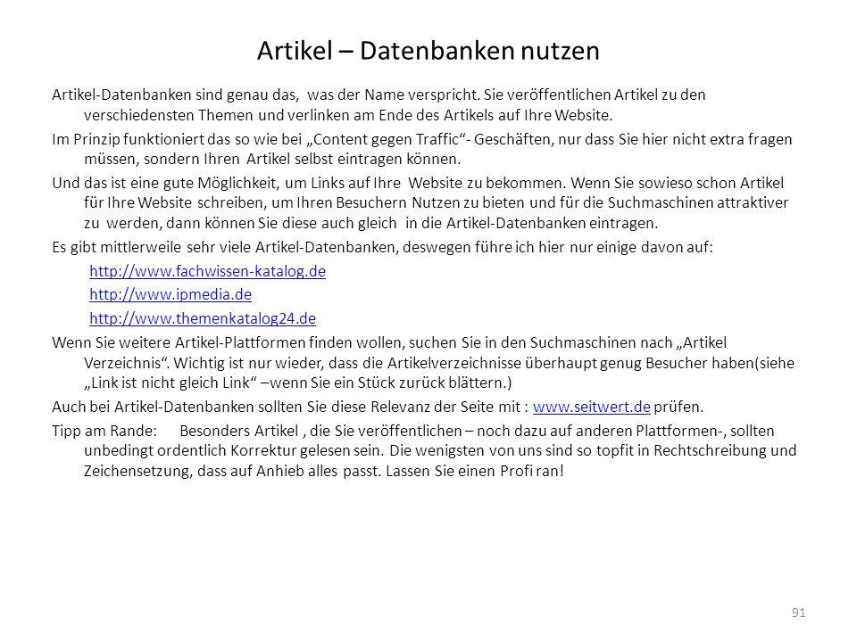 Artikel – Datenbanken nutzen