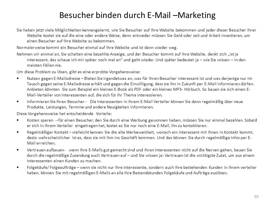 Besucher binden durch E-Mail –Marketing