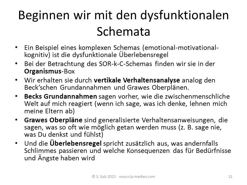 Beginnen wir mit den dysfunktionalen Schemata