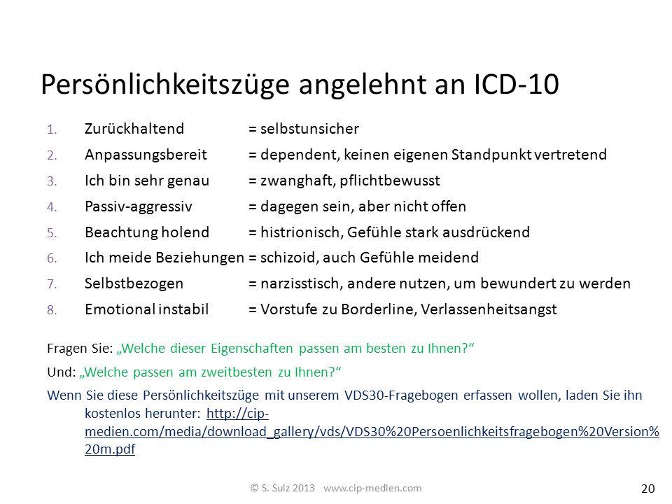 Persönlichkeitszüge angelehnt an ICD-10