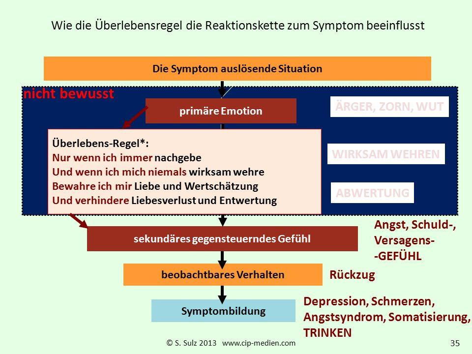 Wie die Überlebensregel die Reaktionskette zum Symptom beeinflusst