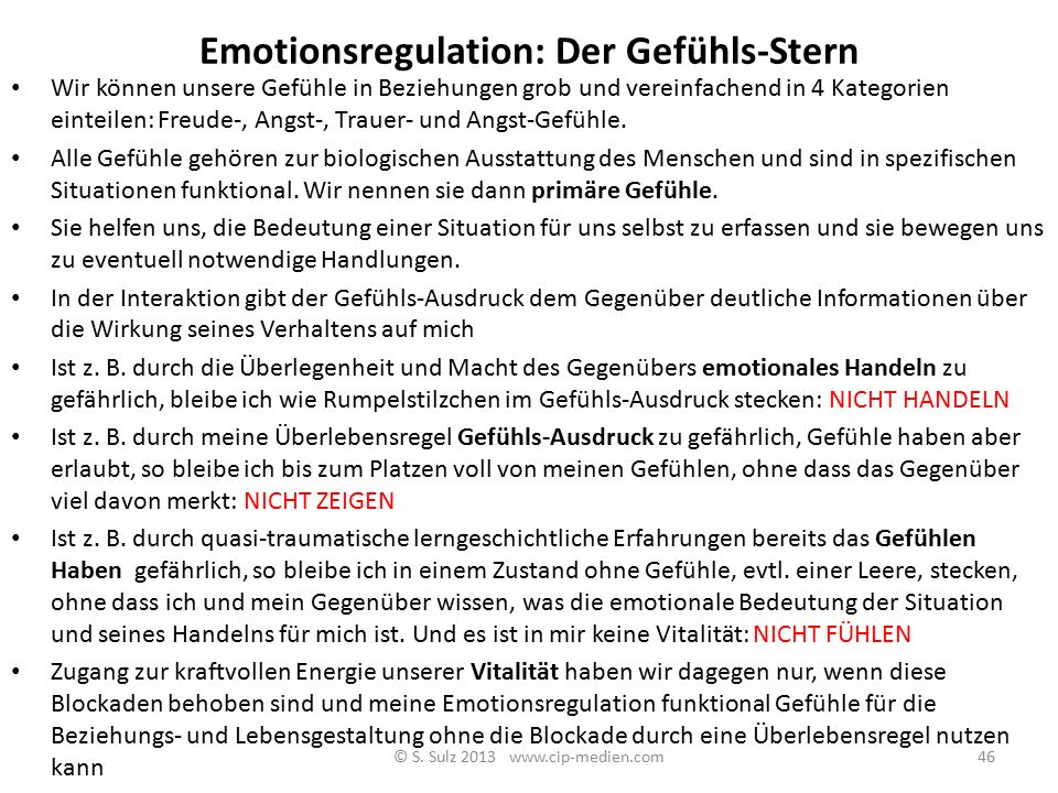Emotionsregulation: Der Gefühls-Stern
