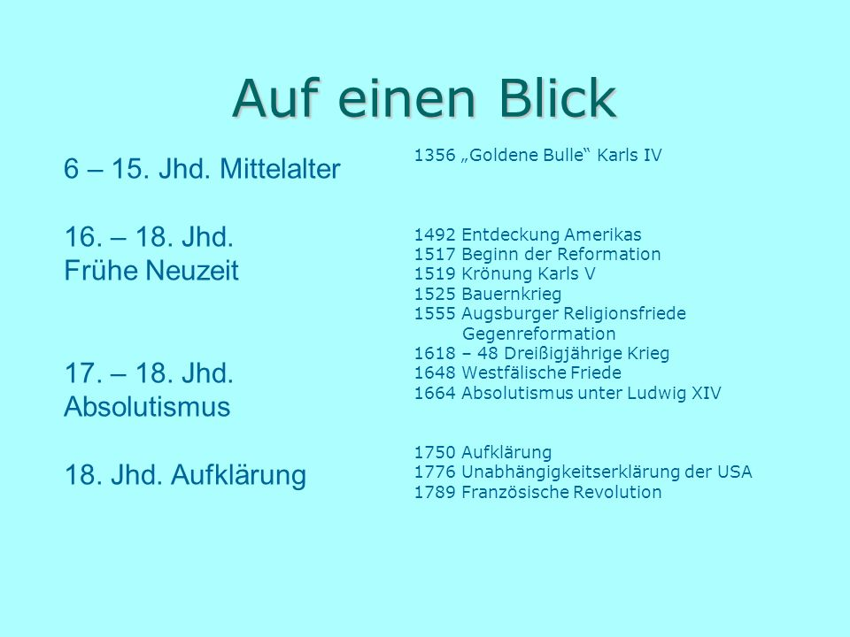 Auf einen Blick 6 – 15. Jhd. Mittelalter 16. – 18. Jhd. Frühe Neuzeit