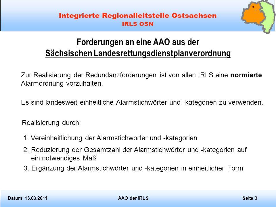 Forderungen an eine AAO aus der Sächsischen Landesrettungsdienstplanverordnung