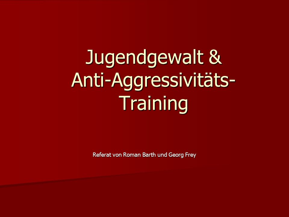 Jugendgewalt & Anti-Aggressivitäts-Training