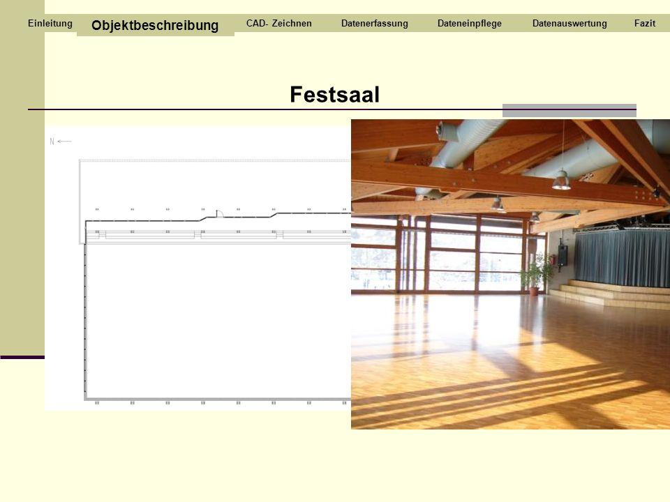 Festsaal Objektbeschreibung CAD- Zeichnen Datenerfassung