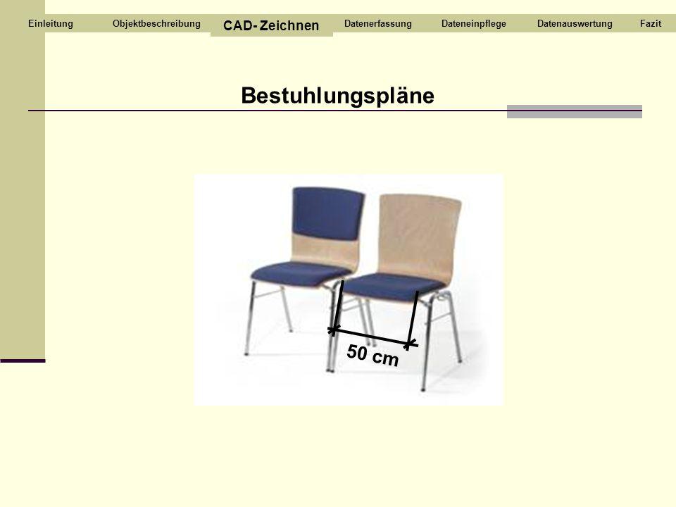 Bestuhlungspläne 50 cm CAD- Zeichnen Objektbeschreibung Datenerfassung