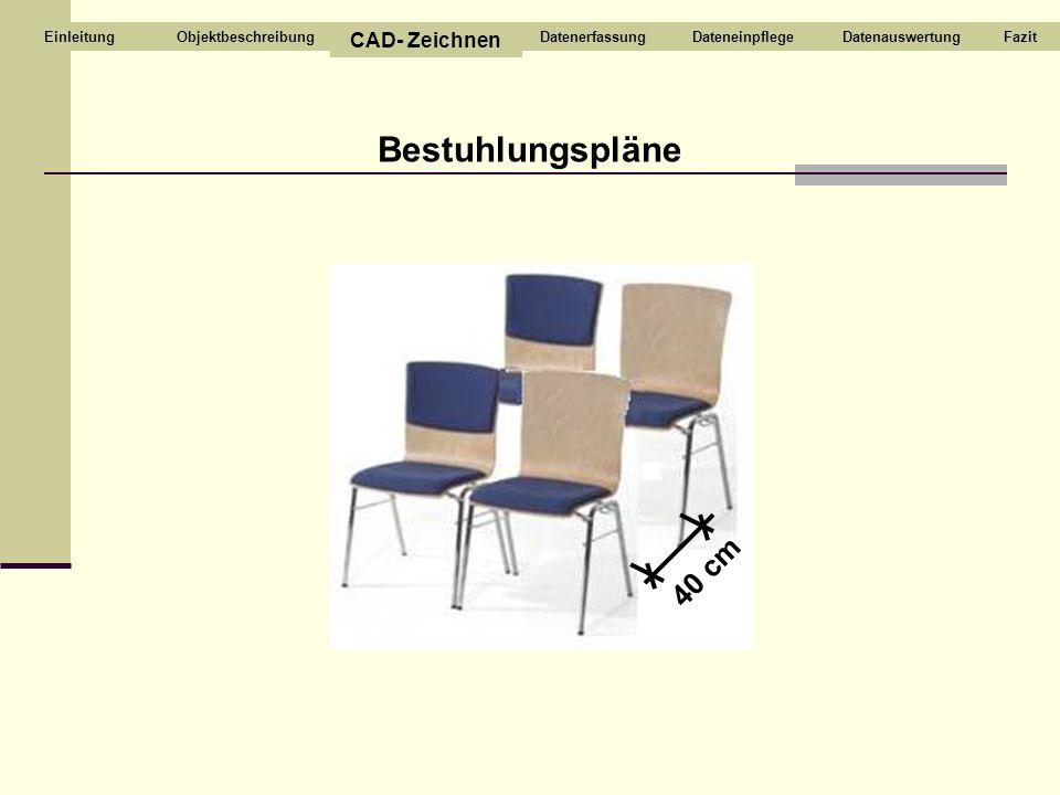Bestuhlungspläne 40 cm CAD- Zeichnen Objektbeschreibung Datenerfassung