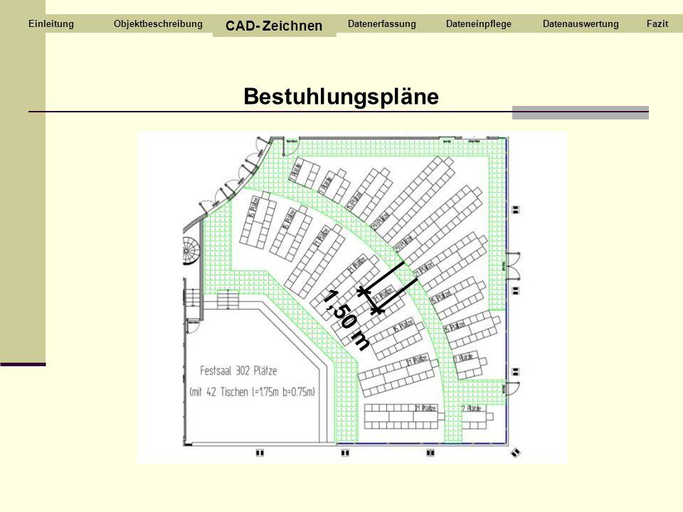 Bestuhlungspläne 1,50 m CAD- Zeichnen Objektbeschreibung