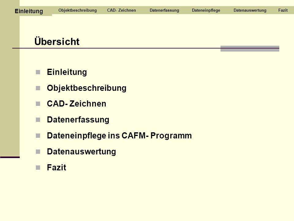 Übersicht Einleitung Objektbeschreibung CAD- Zeichnen Datenerfassung