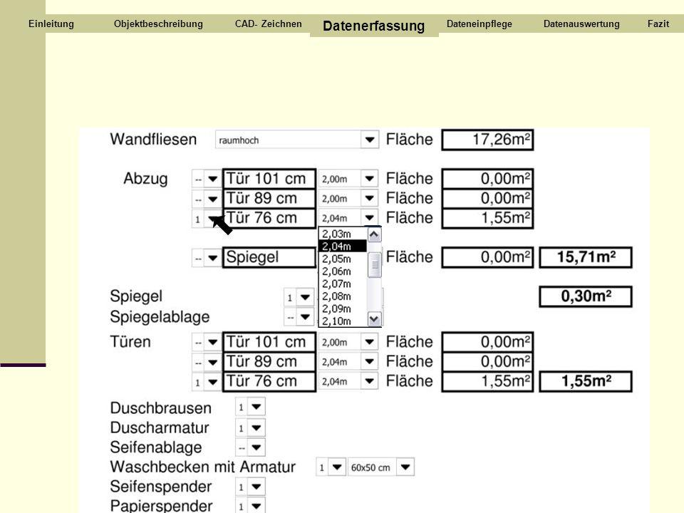 Datenerfassung Objektbeschreibung CAD- Zeichnen Dateneinpflege
