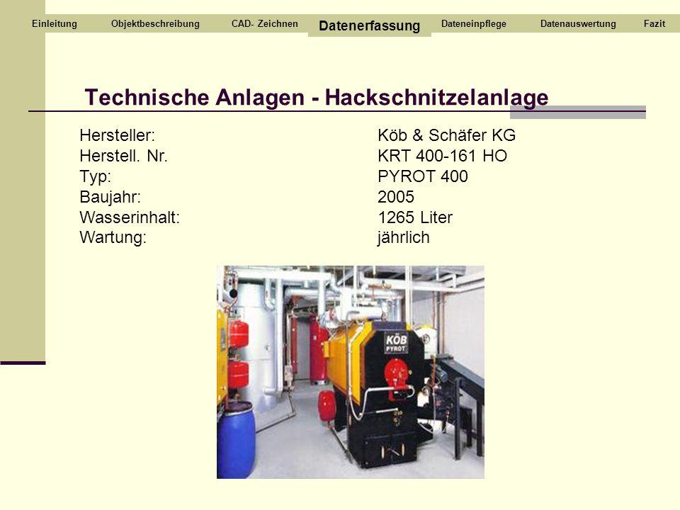 Technische Anlagen - Hackschnitzelanlage