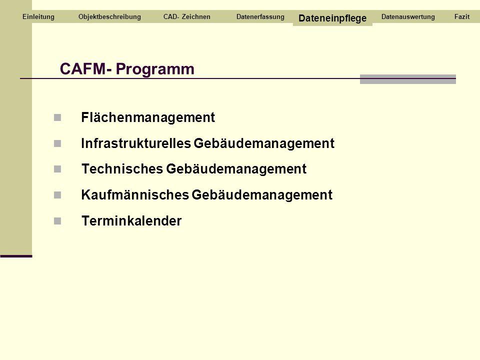 CAFM- Programm Flächenmanagement Infrastrukturelles Gebäudemanagement
