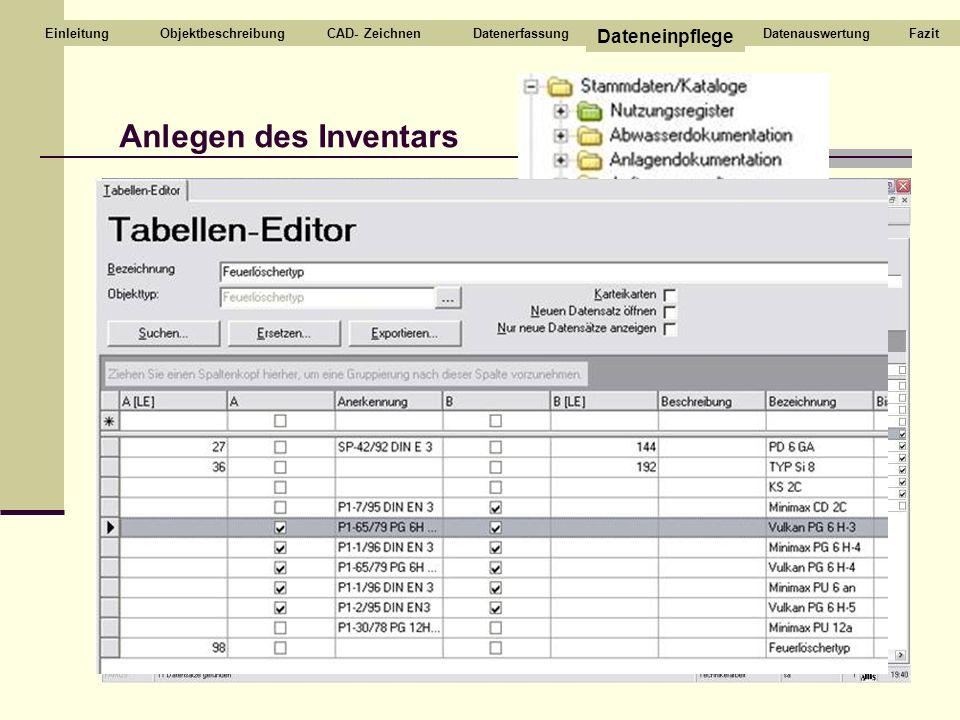 Anlegen des Inventars Dateneinpflege Einleitung Objektbeschreibung
