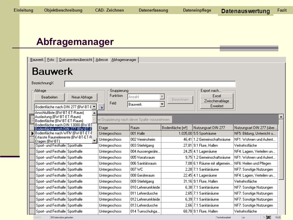 Abfragemanager Datenauswertung Einleitung Objektbeschreibung