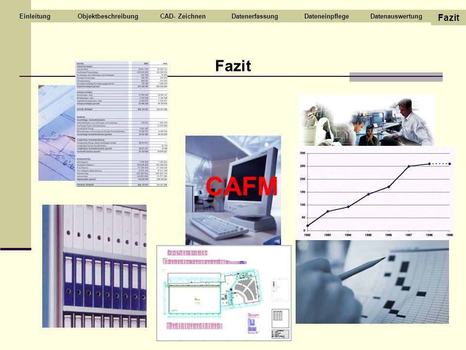 CAFM Fazit Fazit Objektbeschreibung CAD- Zeichnen Datenerfassung