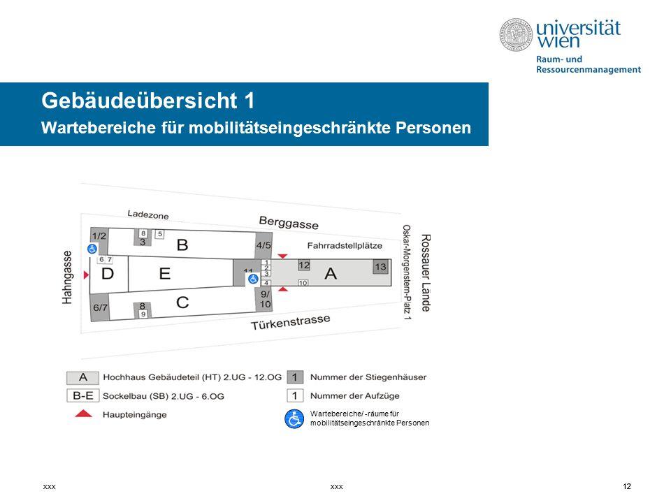 Gebäudeübersicht 1 Wartebereiche für mobilitätseingeschränkte Personen