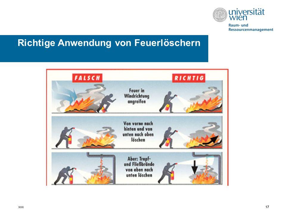 Richtige Anwendung von Feuerlöschern