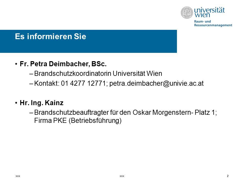 Es informieren Sie Fr. Petra Deimbacher, BSc.